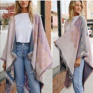 Sweaters - Paisley Poncho Kimono Cardigan Scarf Wrap